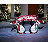 Set of Lighted Penguins with Happy Holidays Sign Christmas Yard Art