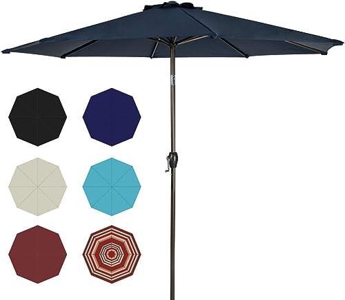 Ginelite 10Ft Patio Umbrella Outdoor Umbrella Patio Table Umbrella Market Umbrella UV Protection Umbrella