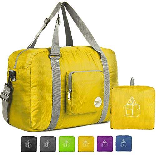 Wandf Foldable Travel Duffel Bag Luggage Sports Gym Water Resistant Nylon (Yellow)