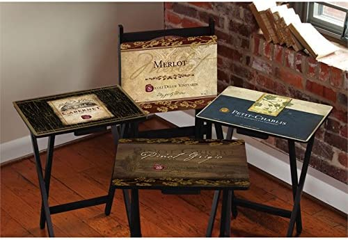 Cape Craftsment Rustic Wine Tv Trays With Stand Set Of 4 Kitchen Dining