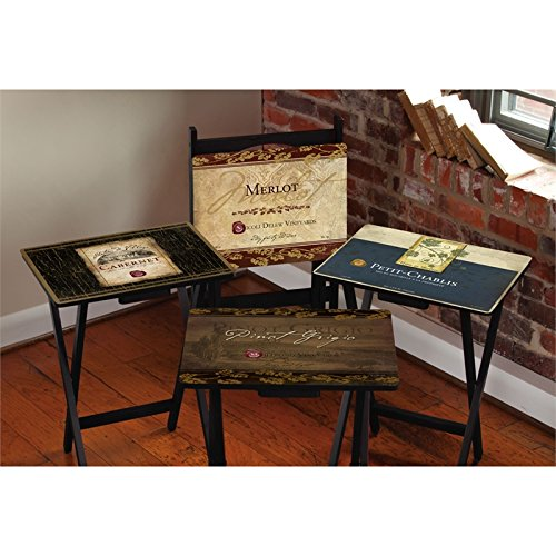 Cape Craftsment Rustic Wine TV Trays with Stand, Set of 4 (Tv Tray Glass)