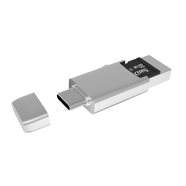 USB Tipo C Lettore di schede, iczi USB C to USB 3.0 Adattatore con OTG SD/Micro SD per Samsung S8/S8 Plus, New Macbook, Chromebook Pixel, Nexus 5 X/6P ecc (Argento) IZEC-U01