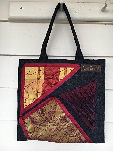 Felt with silk hand applique tote bag BATOOLI