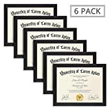 Icona Bay Diploma Picture Frames 8.5x11 (6 Pack, Black) College Diploma Frames 8.5 x 11, 8 by 10 Document Picture Frames, Exclusives Collection