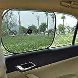 MAZIMARK--2pcs Black Car Window Sunshade Curtain Visor Mat Blind Stopper Screen Sticker