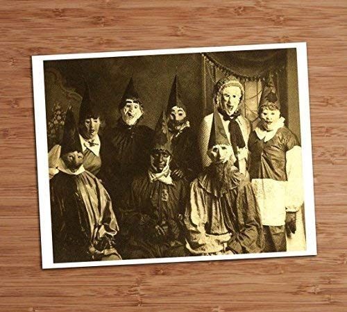 Creepy Group Photo Vintage Art Print 8x10 Wall Art Weird Adult Costume Party Halloween Decor -