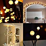 aibeamer Globe Decorative String Lights 8.5FT 72 LED Bulbs Warm White Rattan Style Hanging LED Lights String for Wall, Bedroom, Garden, Indoor & Outdoor Decoration