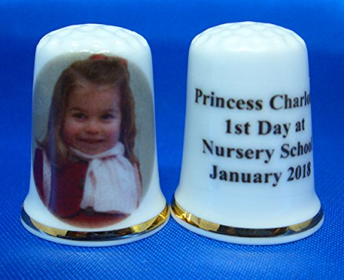 Porcelain China Collectable Thimble - Princess Charlotte 1st Day at Nursery January 2018 -- Free Gift Box -