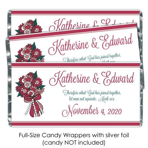 Wedding Candy Wrappers, Cute Bouquet Full Size Wrappers, Custom Party Favors, Bridal Shower Candy Bar Wrappers (50 count)