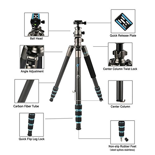 BONFOTO B674C Camera Carbon Fiber Travel Tripod Lightweight Heavy Duty Portable With 1/4'' Quick Release Plate 360 Degree Ball Head And Carry Case For Canon, Sony, Nikon, DSLR Cameras by BONFOTO (Image #1)