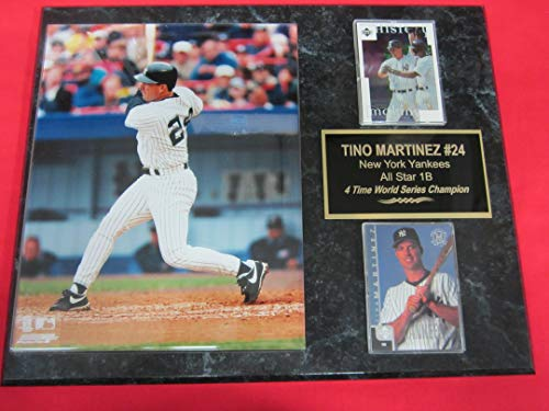 (Yankees Tino Martinez 2 Card Collector Plaque w/ 8x10 Batting Photo)