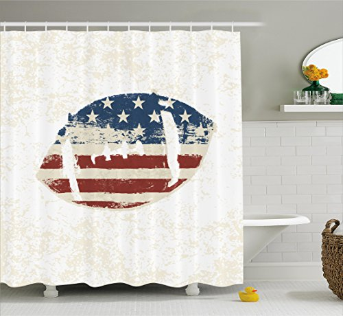 Ambesonne Sports Decor Shower Curtain Set, Grunge American Flag Themed Hand Stitched Rugby Ball Vintage Design Football Theme, Bathroom Accessories, 69W X 70L Inches, Multi Vintage American Football