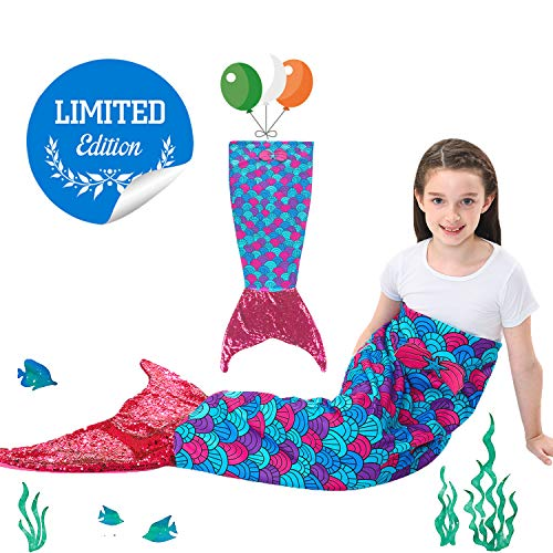 Kids Mermaid Tail Blanket with Scale Pattern,Gilrs Mermaid All Season Sleeping Blankets,Kids' Bedding Toys Sleep Bags Comforter for Air Condition Sofa,Home,Travel,Camping Birthday Gifts (Powderblue)