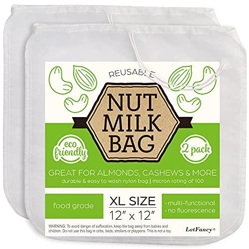 "LotFancy Nut Milk Bags, 2 Pack, 100 Micron, 12"" x 12"" Reusable Mesh Strainer Bag, Food Grade, BPA-Free Fine Nylon Mesh Filter for Almond Milk, Yogurt, Juices, Cold Brew Coffee"