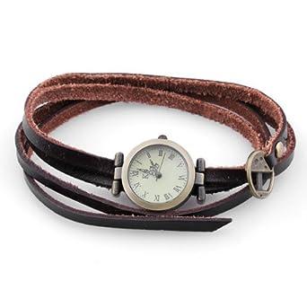 Lederarmband für damen braun  Damen Uhr Armband Armbanduhr Quarz Uhren Armkette Echtleder Retro ...