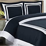Duvet Cover Set and Pillowcases Bed Skirt 4 piece Full Size (90''x92'') 100 Egyptian Cotton Luxury Soft Modern Reversible Bedding Trim Pattern Navy White design with 4 Corner Ties