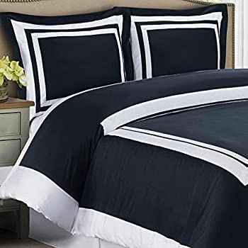 Amazon Com Duvet Cover Navy Blue White Border Design