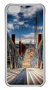 iPhone 5C Case Cover - Ship Harbor Custom PC Hard Case Back Cover for iPhone 5C - Transparent