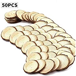 "Fuhaieec(TM) 50pcs 2.4""-2.8"" Unfinished Natural Wood Slices Circles with Tree Bark Log Discs for DIY Craft Christmas Rustic Wedding Ornaments"