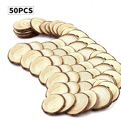 Fuhaieec 50pcs 2.4'-2.8' Unfinished Natural Wood Slices Circles with Tree Bark Log Discs for DIY Craft Christmas Rustic Wedding Ornaments