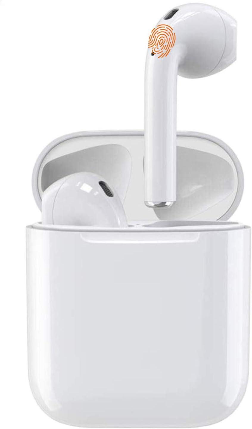 Auriculares Bluetooth 5.0, auriculares con micrófono, estéreo HiFi de graves profundos, con caja de carga portátil [24 h], IPX7 a prueba de agua, adecuado para Android / iPhone / Samsung