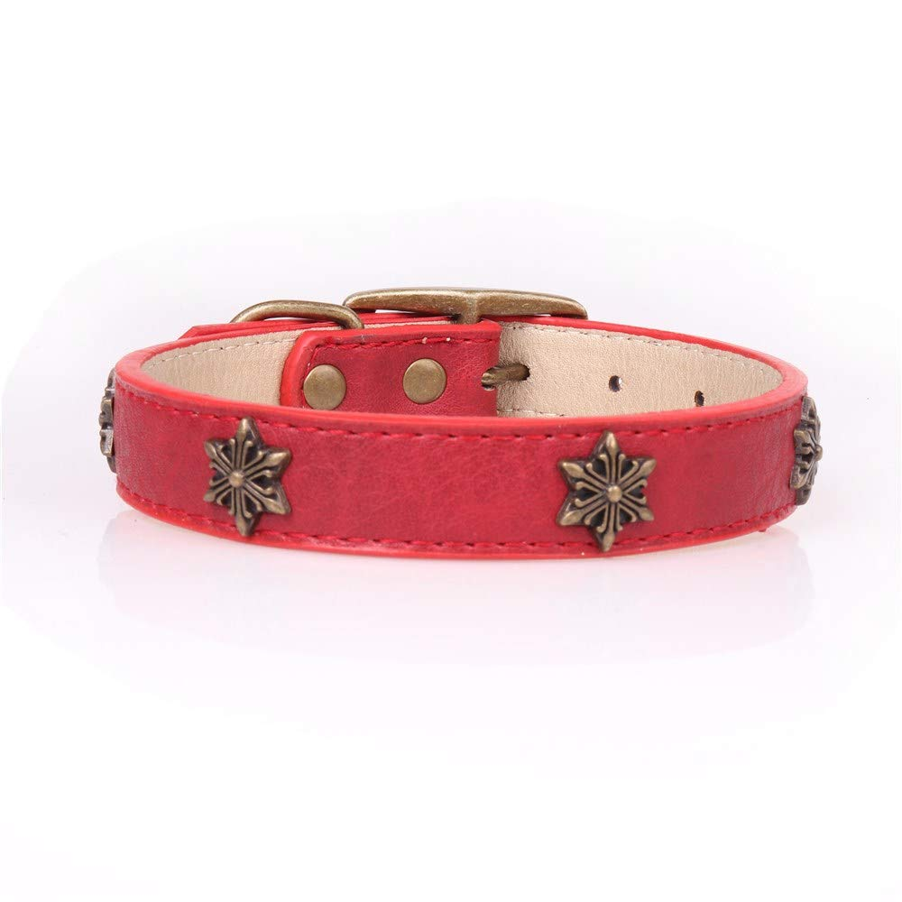 Red,2.5×35-45cm Pet Online Pet Collar Creative Star Decoration in Large Dog Collar,red,2.5×35-45cm