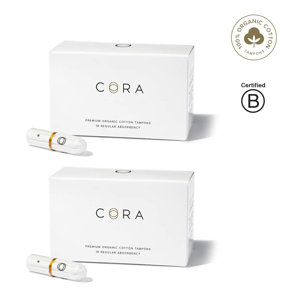 Cora Organic Cotton Non-Applicator Tampons; Chroline & Toxin Free - Regular (36 Count) by Cora