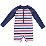 ALove Baby Girls Zipper Rash Guard One Piece Swimsuit Long Sleeve Sunsuit 18 Months