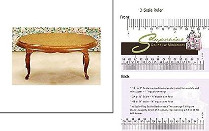 Amazon Com Dollhouse Miniature Oval Coffee Table Walnut Cb Toys