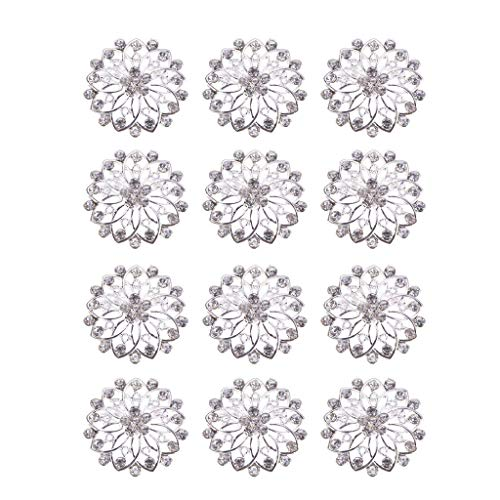 (12pcs Lot Crystal Flower Brooch Pin Bouquet Party Fashion Rhinestone Corsage (Item -)