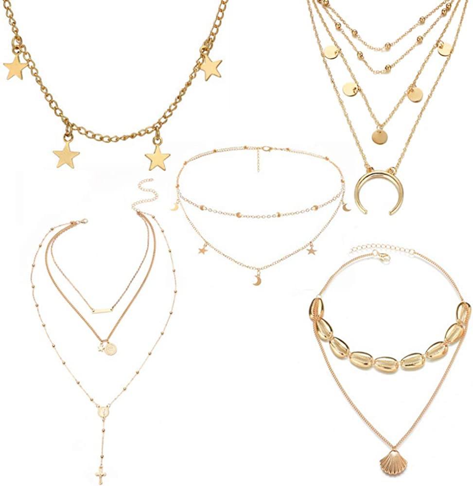 Vintage Jewelry Multilayer Necklace Gold Chain Coin Star Moon Pendant