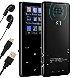 MP3 Player with Bluetooth 16GB Qoosea Built-in Speaker Digital Recording FM Radio Portable Lossless Sound Music Player Metal Touch button with Video E-Book Support Up to 128GB TF Card (Black)