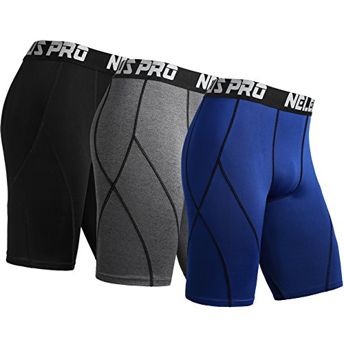 (Neleus Men's 3 Pack Sport Running Compression Shorts,6012,Black,Grey,Blue,XL,EU 2XL)