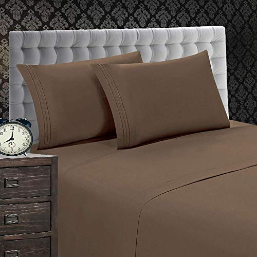 Elegant Comfort 1500 Thread Count Luxury Egyptian Quality Wrinkle and Fade Resistant 4-Piece Sheet Set, King, Taupe