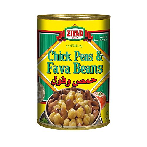 Ziyad Chick Peas and Fava Beans Mix 15 OZ, (Pack 1) (Peas Ziyad Chick)