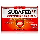 Sudafed PE Pressure + Pain Caplets, Sinus Pain Relief, 24 Count