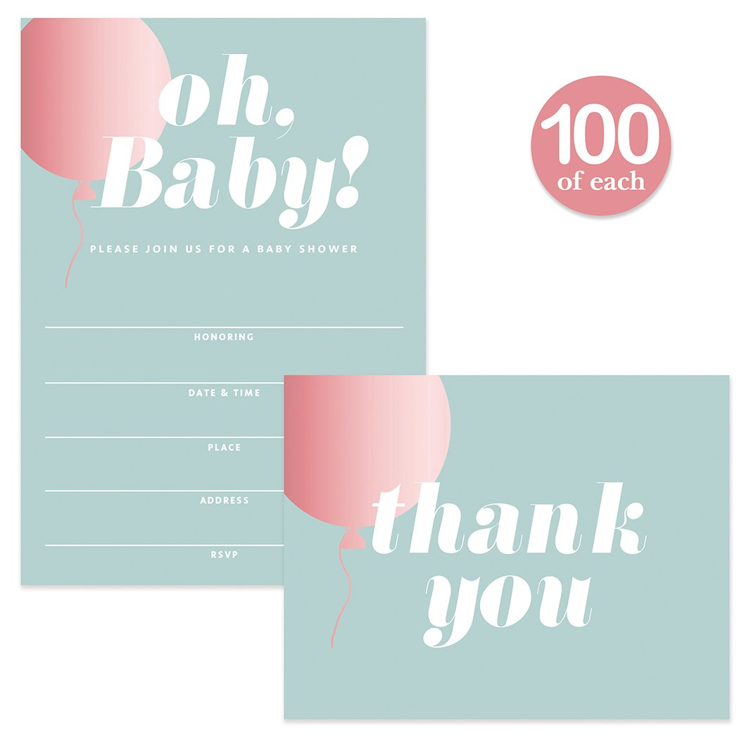 Baby Shower Invitations & Matched Thank You Cards ( 100 of Each ) Set with Envelopes Large Celebration Mommy-to-Be Girl Daughter Female Gender Baby Fill-in Invites & Thank You Notes Best Value Pair