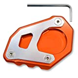 YUANQIAN Motorcycle Kickstand Side Stand Extension Footprint Plate Pad For KTM 1050 1090 1290 Adventure(Orange+Silver)