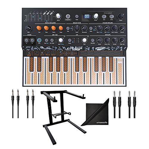 Arturia MicroFreak Hybrid Analog/Digital Synthesizer w/AxcessAbles Audio Cables, Laptop Stand and eStudioStar Polishing Cloth