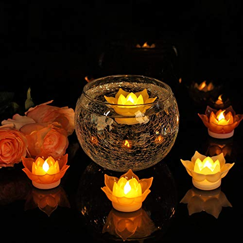 Romingo 7 Colors Lotus LED Candles Floating Candle Batteries Operated Flameless Candle Light Beautiful for Festival Lamp Decoration Home, Garden, Pond (Floating Garden Bowl)