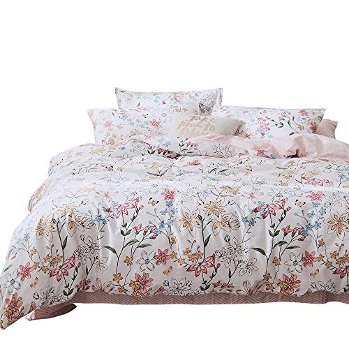 BHUSB Lightweight Cotton Floral Duvet Cover Set Full Queen Reversible Garden Style Comfortable Cover with Zipper Closure 3 Piece Flower Bedding Sets with Pink Geometric Striped -