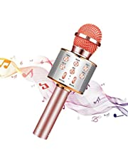 Karaoke Microphone Bluetooth Wireless,Portable KTV Microphone for Kids,Karaoke Machine Wireless Mic,Hand Held Karaoke Microphone Recording,Compatible with Android&iOS Mobile Phone or TV(Rose Gold)