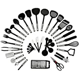 NexGadget Premium 38-Piece Kitchen Utensils Sets Stainless Steel And Nylon Cooking Tools Including Spoons, Turners, Tongs, Spatulas, Pizza Cutter, Whisk, Bottle Opener, Grater, Can Opener, Peeler, Measuring Cups and Spoons [2016 Newest]