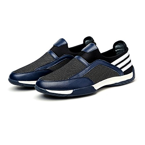 Do.BOMRVII Men's Breathable Sports Leather&Mesh Shoes Slip-on Loafers Running Sneakers Dark Blue 5HWjmn