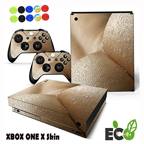 Morbuy Personality Xbox ONE X Skin Sticker, Fashion style Decal Vinyl Sticker Pattern Series Skin Cover full Sticker for Console & 2 Controllers + 10pc Silicone Thumb Grips (Wet ass)