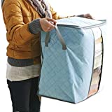 Storage Boxes ,Oksale® Foldable Portable Bamboo Non Woven Underbed Pouch Sorting Order Organizer Box For Quilt Blanket Clothes (Blue)