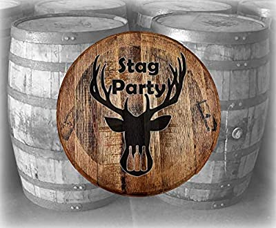 Barrel Top Bar Sign Stag Party Beer Drinking Deer Hunting Cabin Bar Wall Decor Bourbon Whiskey Barrel Lid Gifts for Men