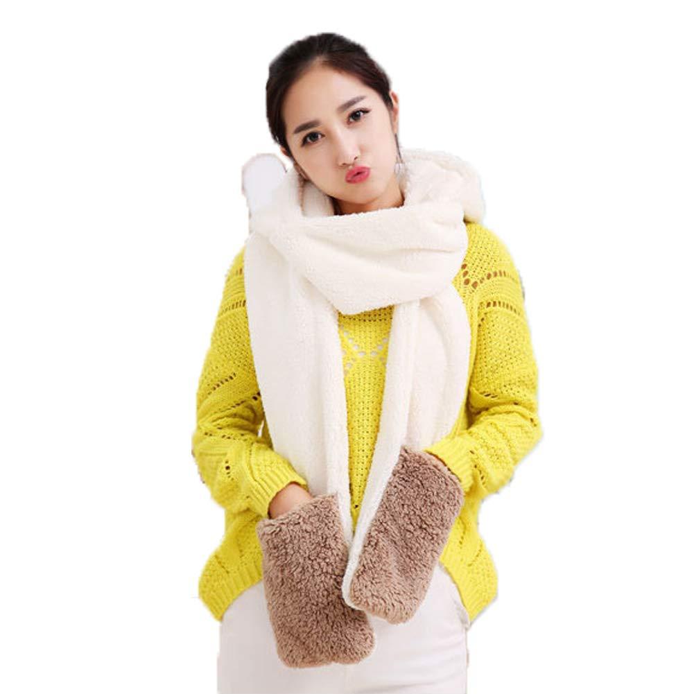 fe8bb3a04b28 Landove Ensemble Bonnet Echarpe Gant Femme Fille Mode Mignon 3 en 1 Écharpe  Châle à Chapeau Agrandir l image