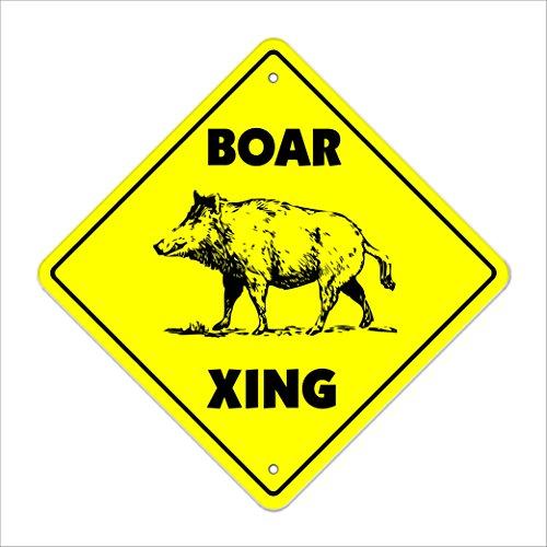 Boar Crossing Sign Zone Xing | Indoor/Outdoor | 12
