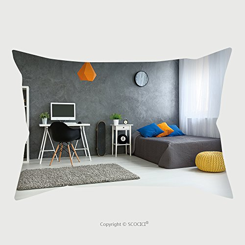 Custom Satin Pillowcase Protector Cozy Stylish Bedroom Designed For Teenage Boy Grey Walls And Wooden Floor On The Wall Skate Board 425624494 Pillow Case Covers Decorative by chaoran